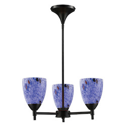 ELK Lighting Three Light Dark Rust Starburst Blue Glass Up Chandelier