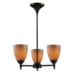 ELK Lighting Three Light Dark Rust Coco Glass Up Chandelier