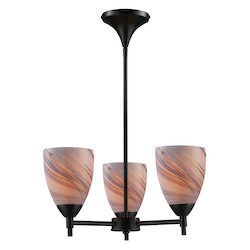 ELK Lighting Three Light Dark Rust Creme Glass Up Chandelier