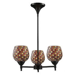 ELK Lighting Three Light Dark Rust Multi Fusion Glass Up Chandelier