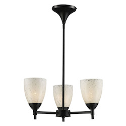 ELK Lighting Three Light Dark Rust Snow White Glass Up Chandelier
