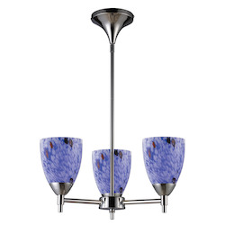 ELK Lighting Three Light Polished Chrome Starburst Blue Glass Up Chandelier