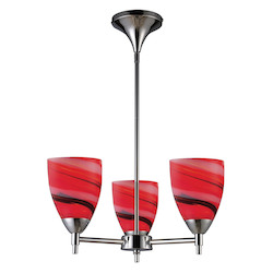 ELK Lighting Three Light Polished Chrome Candy Glass Up Chandelier
