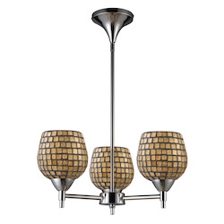 ELK Lighting Three Light Polished Chrome Gold Leaf Glass Up Chandelier