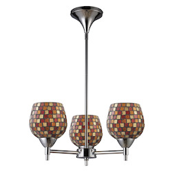 ELK Lighting Three Light Polished Chrome Multi Fusion Glass Up Chandelier
