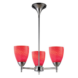ELK Lighting Three Light Polished Chrome Scarlet Red Glass Up Chandelier