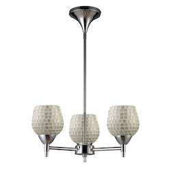 ELK Lighting Three Light Polished Chrome Silver Glass Up Chandelier