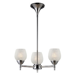 ELK Lighting Three Light Polished Chrome White Glass Up Chandelier