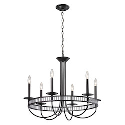 ELK Lighting Six Light Aged Bronze Up Chandelier
