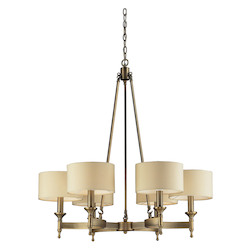 ELK Lighting Six Light Antique Brass Drum Shade Chandelier