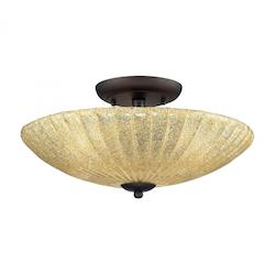 ELK Lighting Three Light Aged Bronze Bowl Semi-Flush Mount