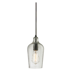 ELK Lighting Hammered Glass 1 Light Mini Pendant Clear