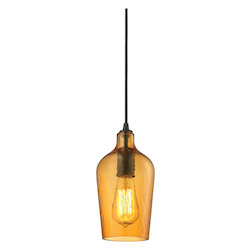 ELK Lighting Hammered Glass 1 Light Mini Pendant Amber