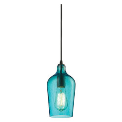 ELK Lighting Hammered Glass 1 Light Mini Pendant Aqua