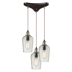 ELK Lighting Hammered Glass Three Light Chandelier Clear