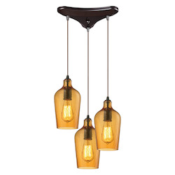 ELK Lighting Hammered Glass Three Light Chandelier Amber
