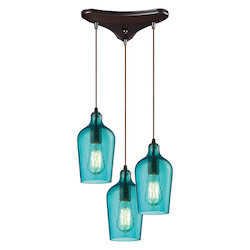 ELK Lighting Hammered Glass Three Light Chandelier Aqua