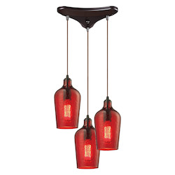 ELK Lighting Hammered Glass Three Light Chandelier Red