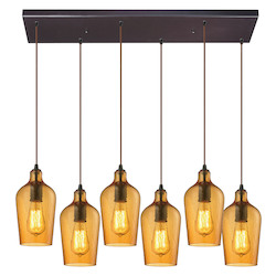 ELK Lighting Hammered Glass Six Light Chandelier Amber