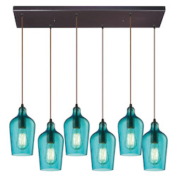 ELK Lighting Hammered Glass Six Light Chandelier Aqua