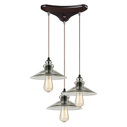 ELK Lighting Hammered Glass Three Light Mini Pendant