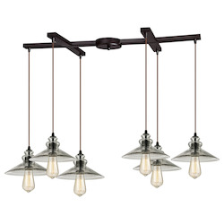ELK Lighting Hammered Glass Six Light Chandelier