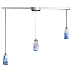 ELK Lighting Three Light Satin Nickel Mountain Glass Multi Light Pendant