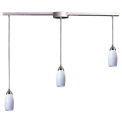 ELK Lighting Three Light Satin Nickel Simply White Glass Multi Light Pendant
