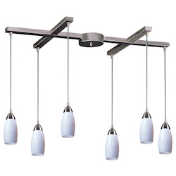 ELK Lighting Six Light Satin Nickel Simply White Glass Multi Light Pendant