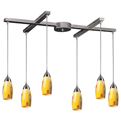 ELK Lighting Six Light Satin Nickel Yellow Blaze Glass Multi Light Pendant