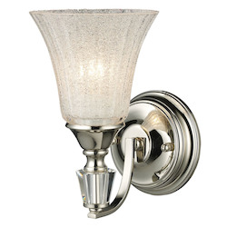 ELK Lighting One Light Polished Nickel Clear Crystalline Glass Bathroom Sconce