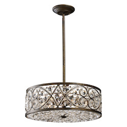 ELK Lighting Six Light Antique Bronze Drum Shade Pendant