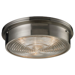ELK Lighting 3-Light Flush Mount With Clear Ribbed Glass Shade