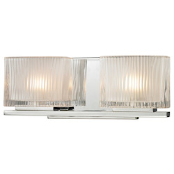 ELK Lighting Two Light Bath Bar Polished Chrome Finish With Chiseled Glass