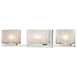 ELK Lighting Three Light Bath Bar Polished Chrome Finish With Chiseled Glass