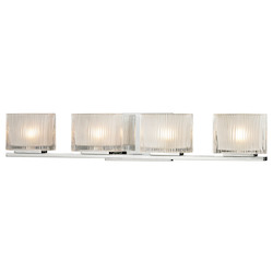 ELK Lighting Four Light Bath Bar Polished Chrome Finish With Chiseled Glass