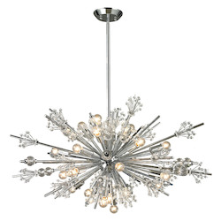 ELK Lighting Starburst Collection 24 Light Chandelier In Polished Chrome