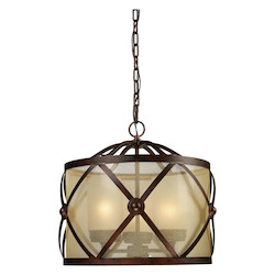 ELK Lighting Three Light Classic Bronze Drum Shade Chandelier