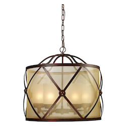 ELK Lighting Six Light Classic Bronze Drum Shade Chandelier