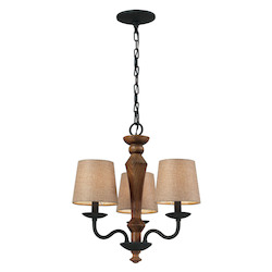 ELK Lighting Three Light Vintage Rust Drum Shade Chandelier