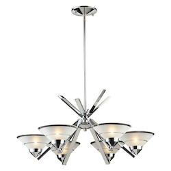 ELK Lighting Six Light Polished Chrome Etched Clear Glass Up Chandelier
