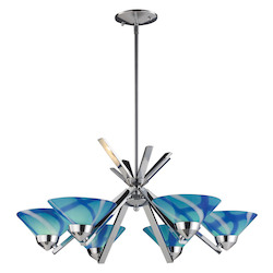 ELK Lighting Six Light Polished Chrome Carribean Glass Up Chandelier