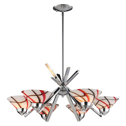 ELK Lighting Six Light Polished Chrome Creme White Glass Up Chandelier