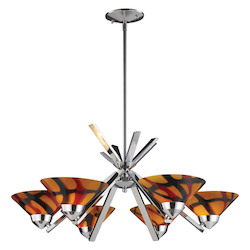 ELK Lighting Six Light Polished Chrome Jasper Glass Up Chandelier