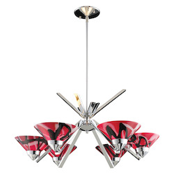 ELK Lighting Six Light Polished Chrome Mars Glass Up Chandelier