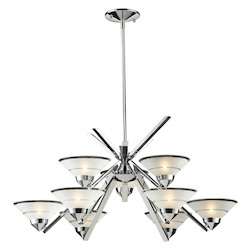 ELK Lighting Nine Light Polished Chrome Etched Clear Glass Up Chandelier