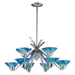 ELK Lighting Nine Light Polished Chrome Carribean Glass Up Chandelier