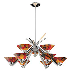 ELK Lighting Nine Light Polished Chrome Jasper Glass Up Chandelier