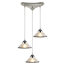 ELK Lighting Three Light Polished Chrome Etched Clear Glass Multi Light Pendant