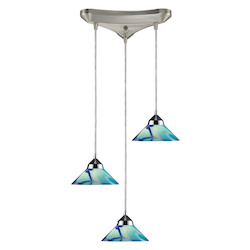 ELK Lighting Three Light Polished Chrome Carribean Glass Multi Light Pendant